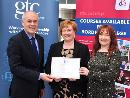 Ken Muir, Angela Cox and Vikki Roberston pose with the GTCS PU Validation